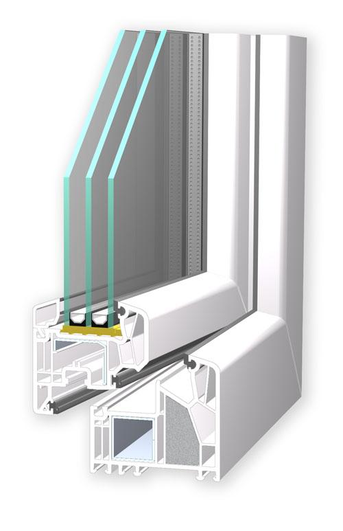 Kunststofffenster erreichen mit Mehrkammerprofilen hervorragende Dämmwerte.