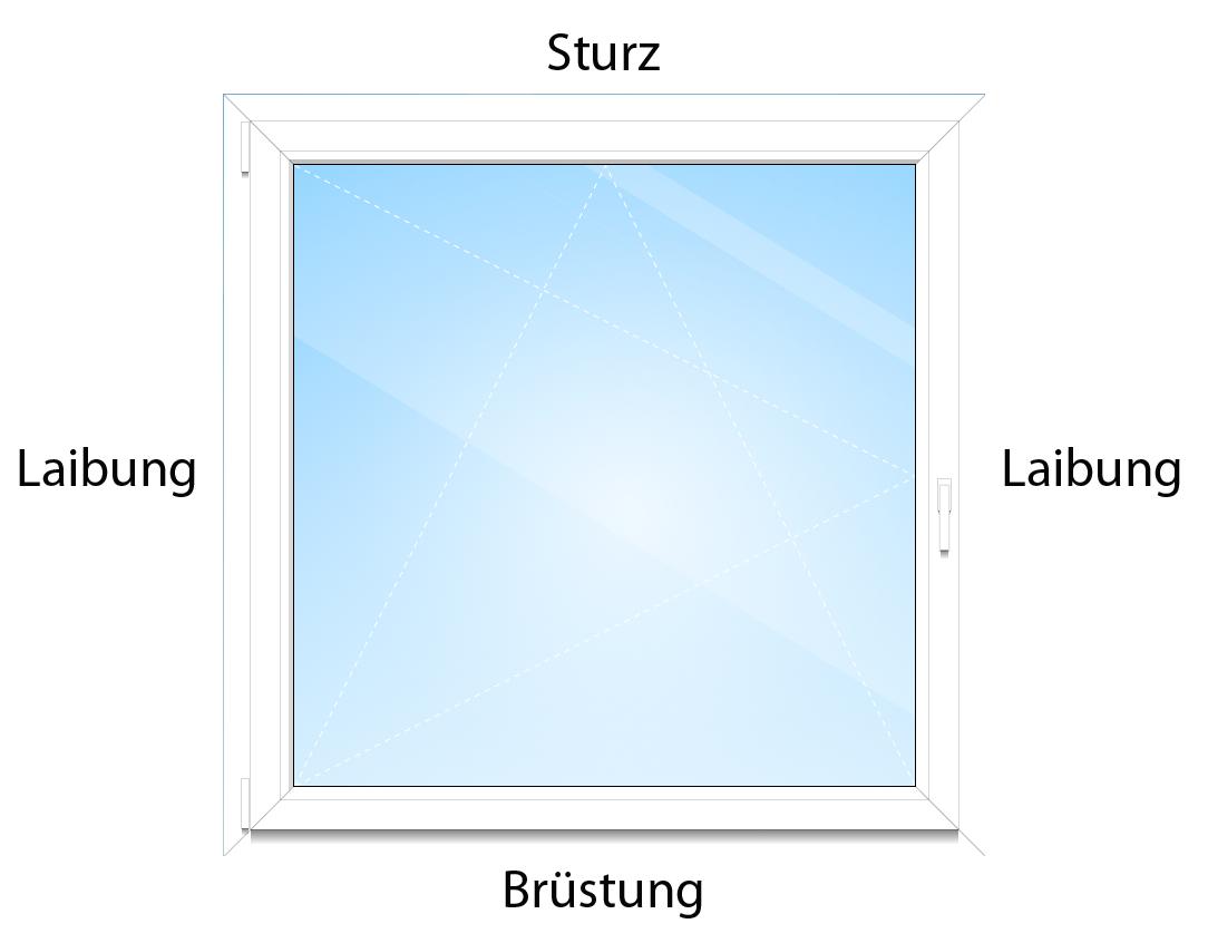 Die Maueröffnung um das Fenster wird in Sturz, Laibung und Brüstung unterteilt.