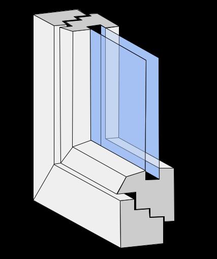 Fensterprofilgeometrie halbflächenversetzt