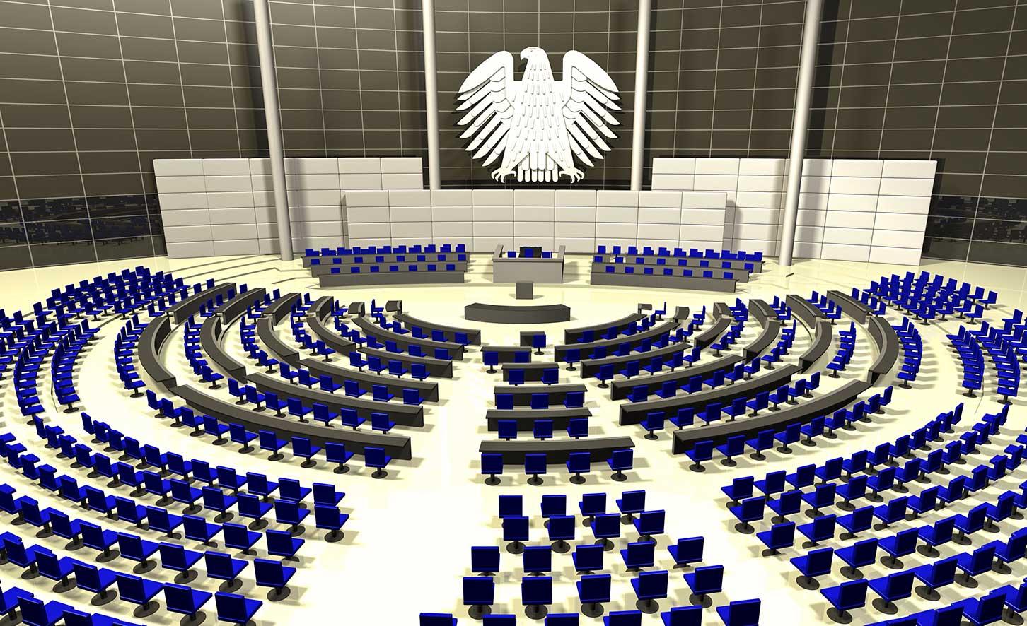 Frontalansicht des Bundestags